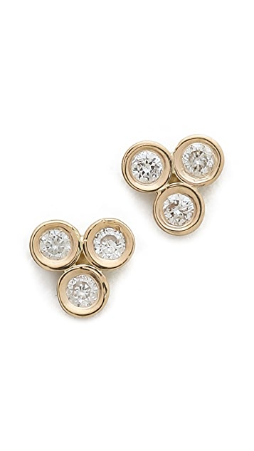 Ariel Gordon Jewelry Mini Diamond Triad Stud Earrings