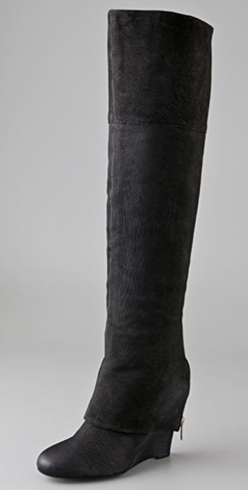 Ash Pearl Over the Knee Boots with Zip