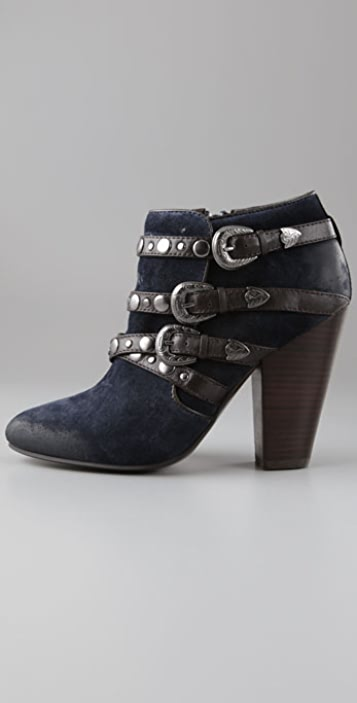 Ash Impuls Suede Booties with Buckled Straps