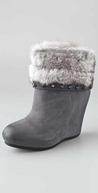 Ash Uranus Wedge Booties with Fur Cuff