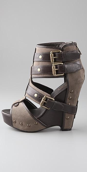 Ash Lyn Buckle Wedge Sandals