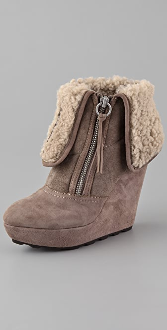 Ash Folk Suede Wedge Booties