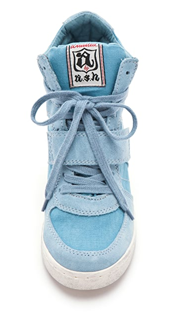 Ash Cool Suede Wedge Sneakers with Canvas Insets