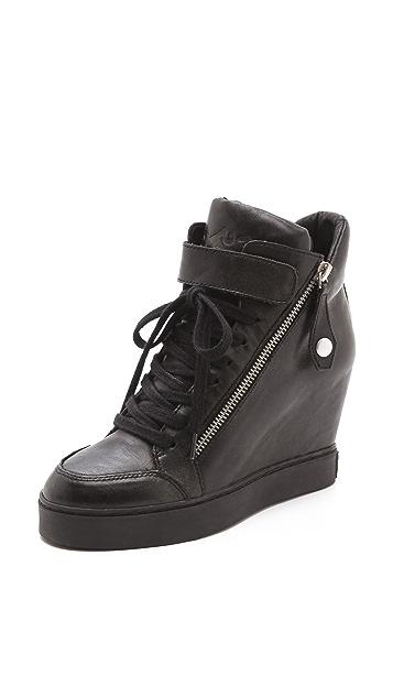 Ash Body Buckle Wedge Sneakers