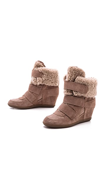 Ash Brizz Shearling Velcro Wedge High Tops