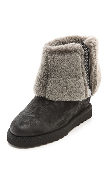 Ash Yorki Wedge Bootie with Fold Over Shearling Shaft
