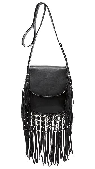 Ash Laurel Fringe Cross Body Bag - Black