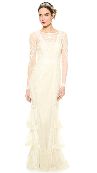 ALICE by Temperley Long Sleeve Botanical Dress