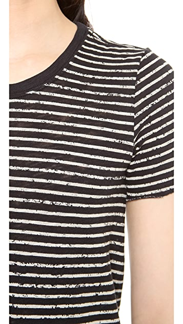 ATM Anthony Thomas Melillo Destroyed Wash Stripe T-Shirt Dress