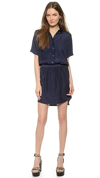 Kupi ATM Anthony Thomas Melillo online i prodaja Atm Anthony Thomas Melillo Silk Polo Shirttail Dress Navy haljinu online