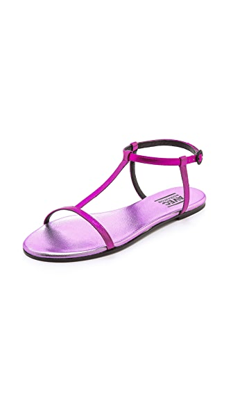 Avec Moderation Metallic T Strap Sandals