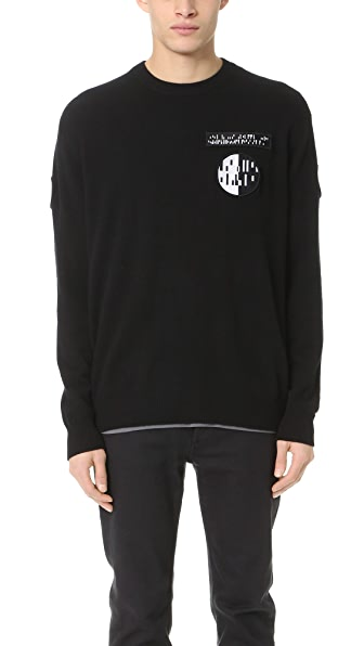Alexander Wang Crew Neck Sweater with Barcode Patches