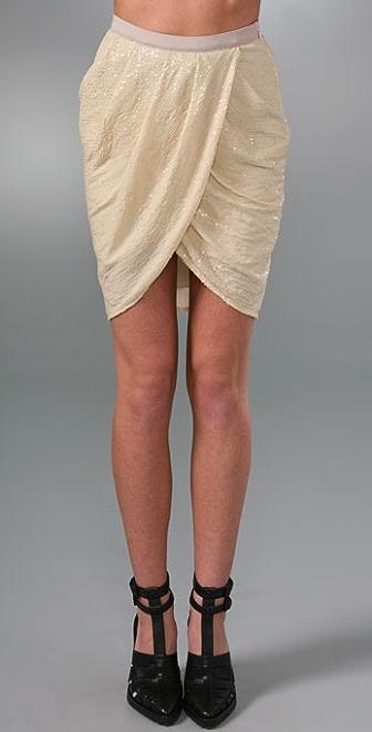 Alexander Wang Drapey Stretch Sequin Skirt