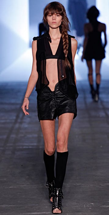 Alexander Wang Leather Corset Shorts with Front Tie
