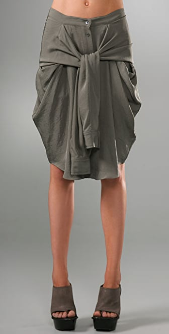 Alexander Wang Silky Army Skirt with Front Tie