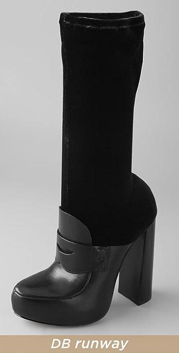 Alexander Wang Hannah Velvet Loafer Boots