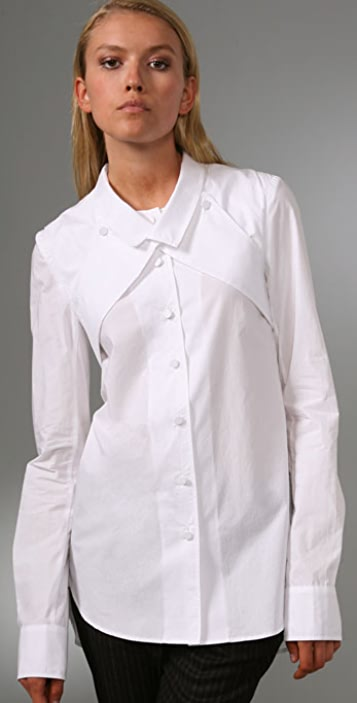 Alexander Wang Dress Shirt with Wraparound Lapel Detail