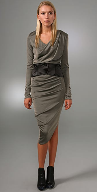 Alexander Wang New Goddess Long Sleeve Dress with Corset