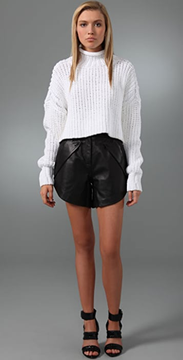 Alexander Wang Leather Mini Shorts with Lapel Pockets