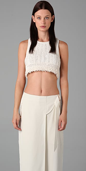 Alexander Wang Crochet Fringe Crop Top