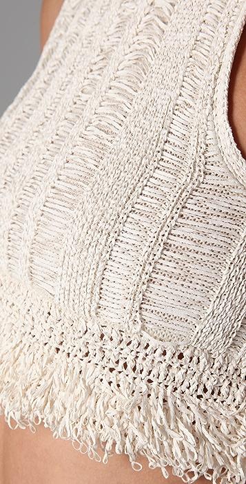 Alexander Wang Crochet Fringe Crop Top