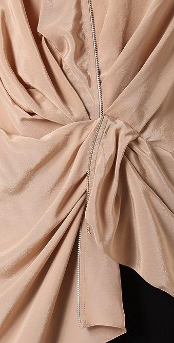 Alexander Wang Sleeveless Draped Top with Zip Detail