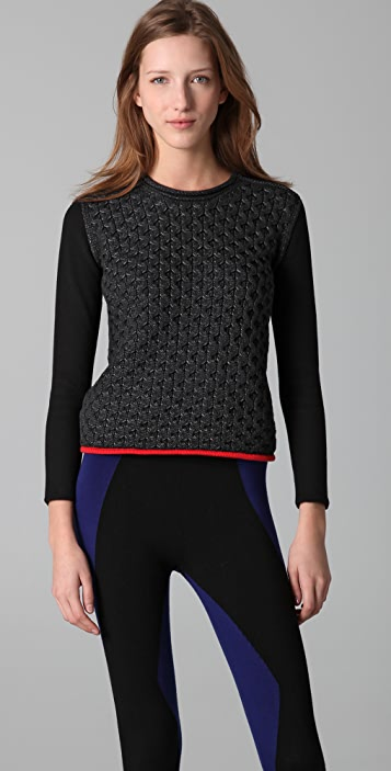 Alexander Wang Honeycomb Crew Neck Pullover Sweater