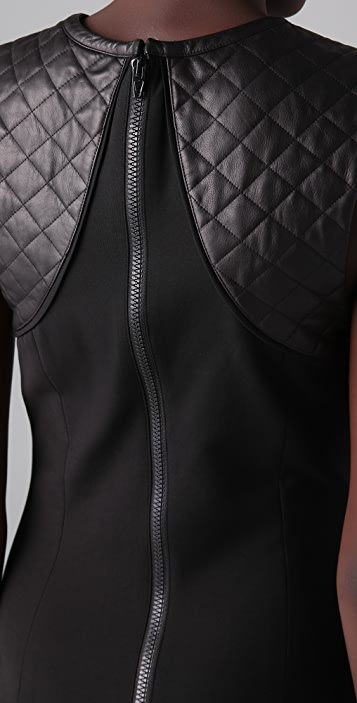 Alexander Wang Sleeveless Dress with Quilted Leather Yoke