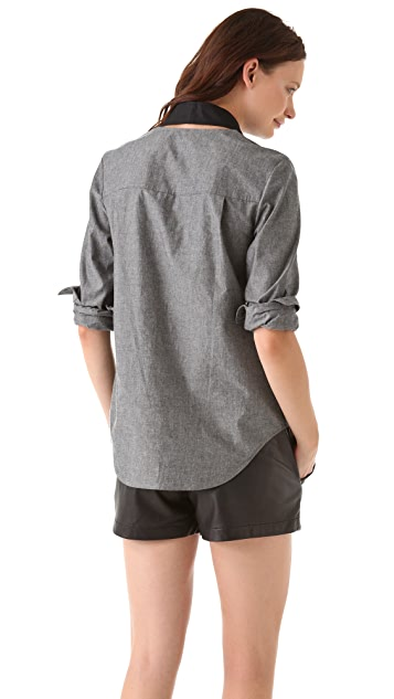 Alexander Wang Marled Cotton Paneled Tuxedo Shirt