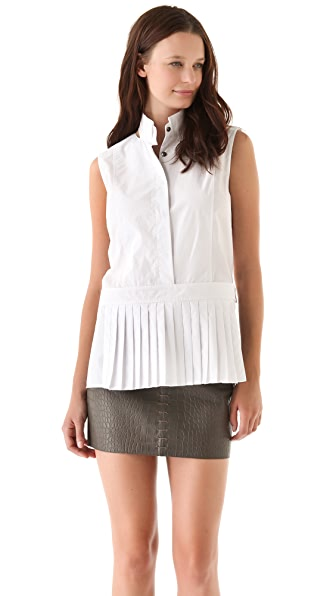 Alexander Wang Poplin Shirt with Pleated Apron