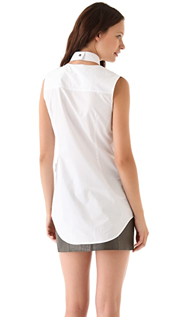 Alexander Wang Poplin Shirt with Pleated Apron
