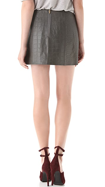 Alexander Wang Croc Leather Miniskirt