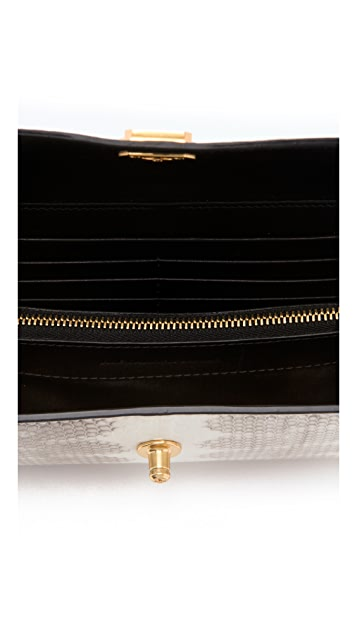 Alexander Wang Snakeskin Trigone Large Compact Wallet