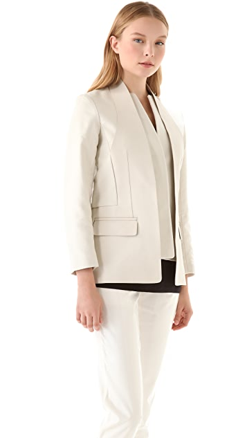 Alexander Wang Slotted Halter Blazer with Leather Panel