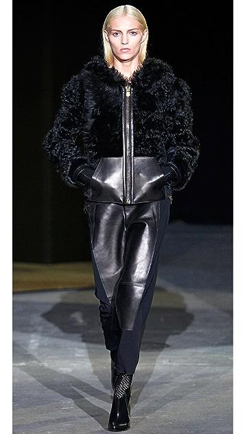 Alexander Wang Shearling & Leather Hoodie