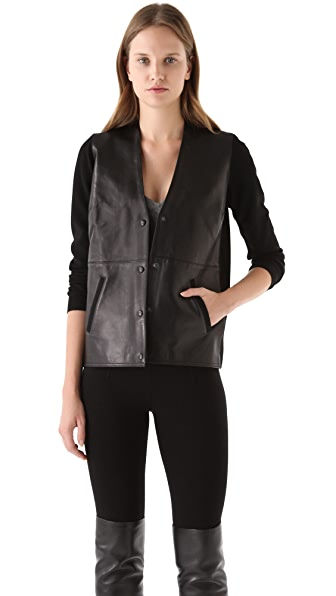Alexander Wang Leather Front Cardigan
