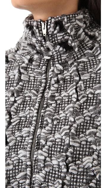 Alexander Wang Frayed Tweed Zip Cardigan