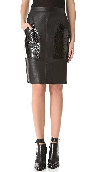 Alexander Wang Croc Pocket Leather Pencil Skirt
