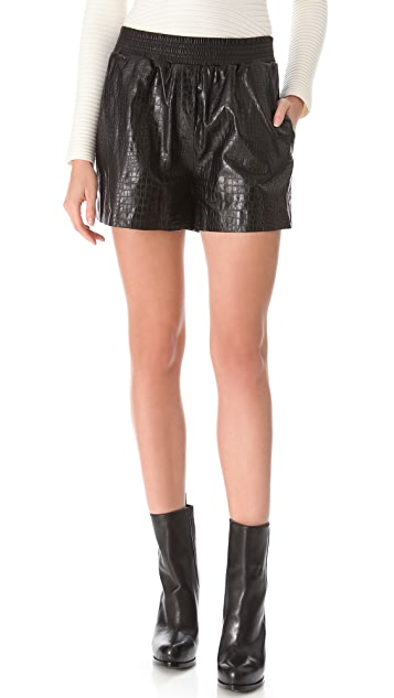 Alexander Wang Croc Embossed Leather Boxer Shorts