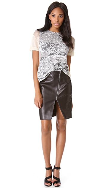 Alexander Wang Leather Pencil Skirt with Raw Edges