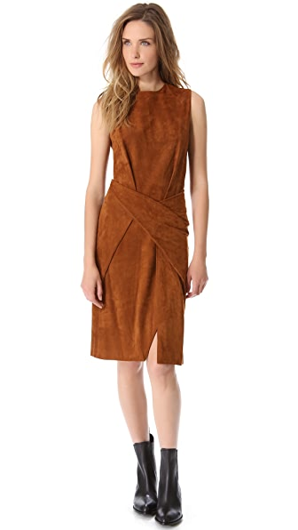 Alexander Wang Suede Twisted Crew Neck Dress