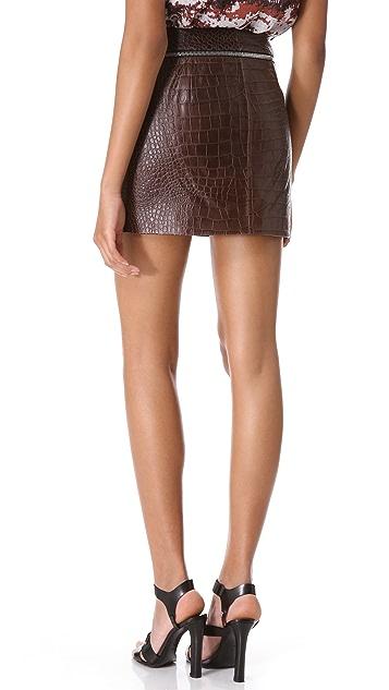 Alexander Wang Embossed Croc Leather Miniskirt