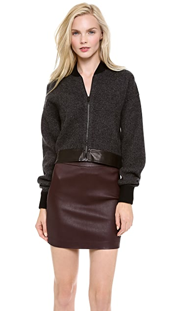 Alexander Wang Double Knit Cropped Bomber Jacket