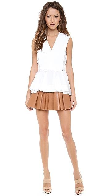 Alexander Wang Irregular Seam Leather Miniskirt