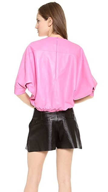 Alexander Wang Leather Dolman Sleeve Top