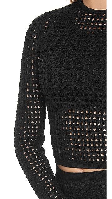 Alexander Wang Crochet Shrunken Pullover