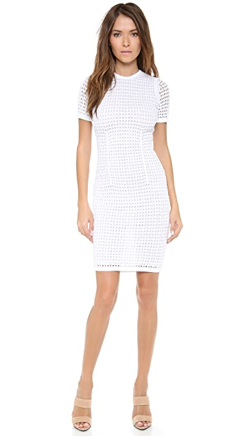 Alexander Wang Crochet Fitted Tee Dress