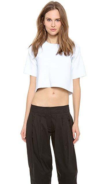 Alexander Wang Optical Stripe Crop Tee