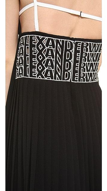 Alexander Wang Pleated Cami Logo Eyelet Dress