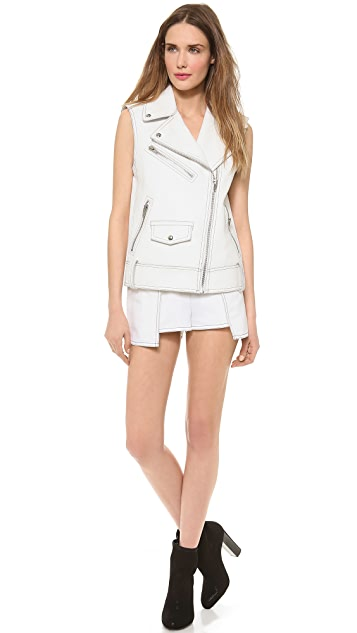 Alexander Wang High Waisted Shorts with Contrast Topstitching